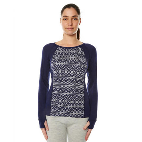 XTM Women's Merino Jacquard Crew Long Sleeve Thermal Top 230 gsm