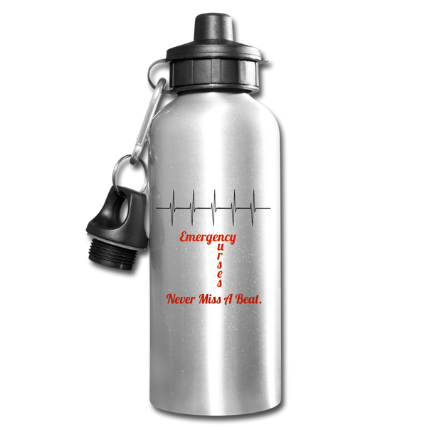 Emergency Nurses Never Miss A  Beat Water Bottle - silver