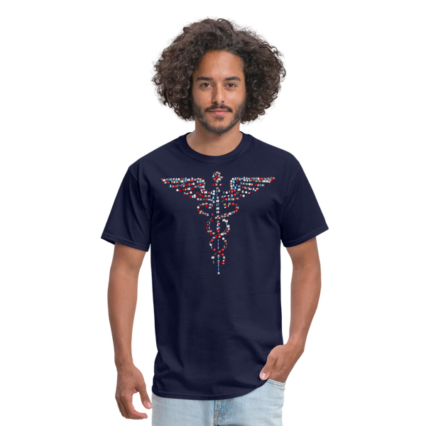 Caduceus Men's T-Shirt - navy shirt with medical cadueus made up of multiple medical symbols such as bandaids, ambulances, beakers, pints of blood etc....