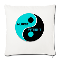 "Nurse - Patient- Yin -Yang - Throw Pillow Cover 17.5"" x 17.5"" - natural white"