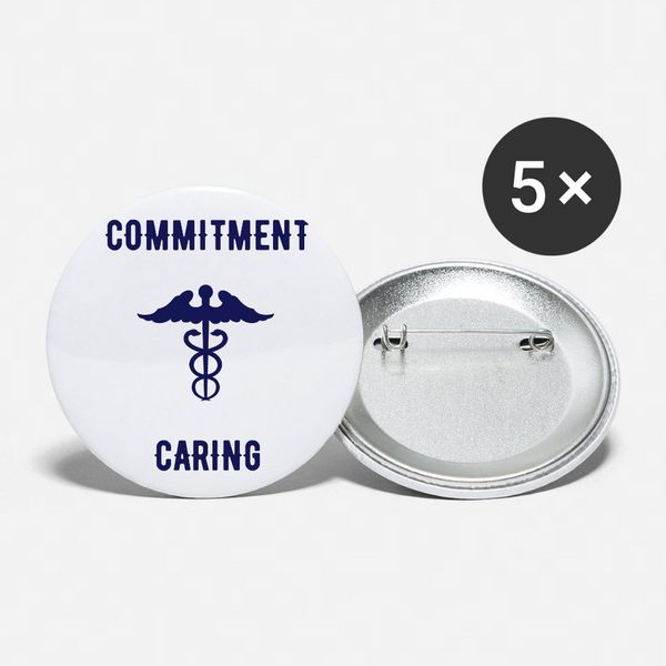 Commitment - Caring - Buttons large 2.2'' (5-pack) - white