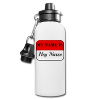 Name Tag Water Bottle - white