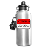 Name Tag Water Bottle - silver
