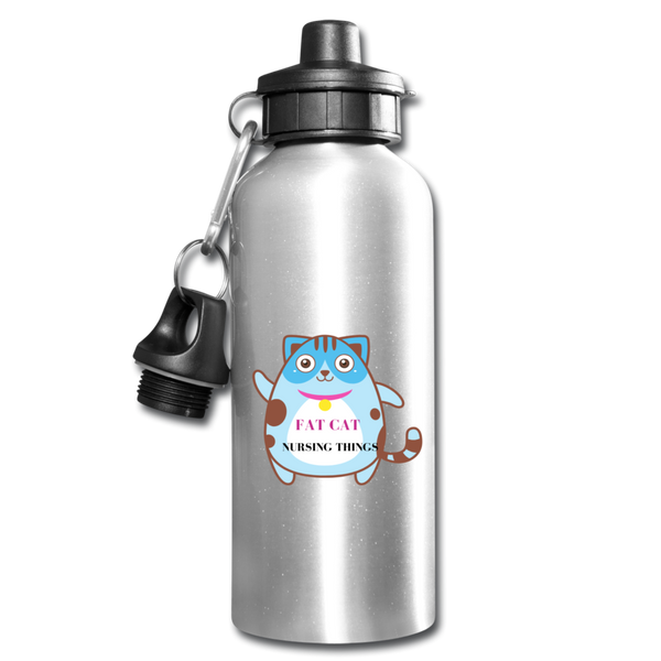 Fat Cat Water Bottle - silver