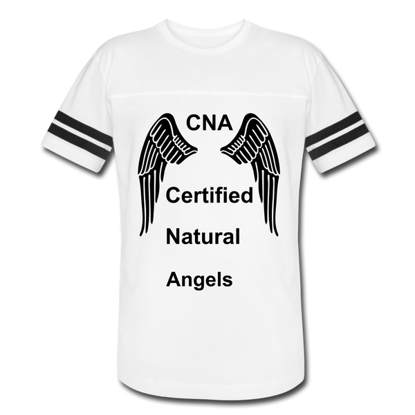 Vintage Sport T-Shirt - white/black shirt with black wings printed on the front wtih the letters cna printed in between the wings. Stated in a vertical like is the words certified, natural, angels. This is a true statement because if it wasnt for cna's the nurses would not be able to take care of the patients.