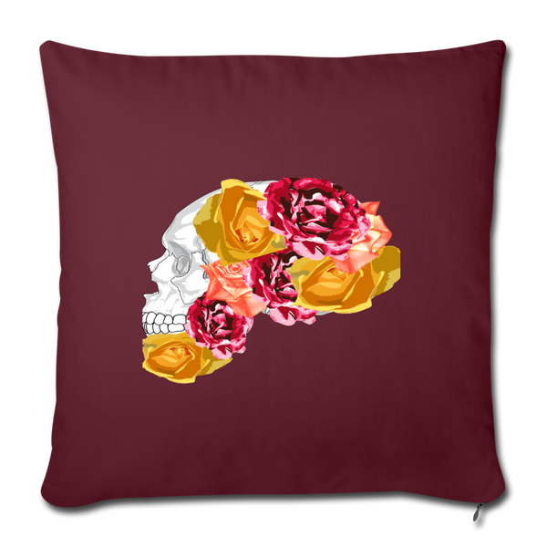"Skull and Roses Throw Pillow Cover 18"" x 18"" - burgundy"