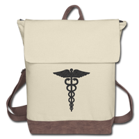 Caduceus Canvas Backpack - ivory/brown in color. Backpack has a flap from from to back with brown straps and trim on the bottom of bag.  A caduceus is printed on the front of the bag printed in black.
