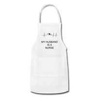 Adjustable Apron - white in color. This apron has an ekg printed on it with a mountain and a rising sun in the middle of the ekg strip. Under the ekg strip it is printed my husband is a nurse.