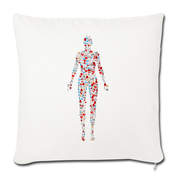 "Human Mosaic Throw Pillow Cover 18"" x 18"" - natural white"