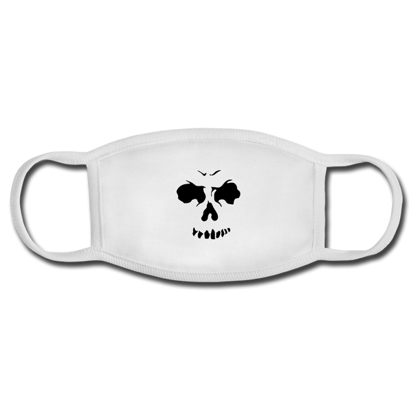 Face Mask - white/white with a black skull face on the front.