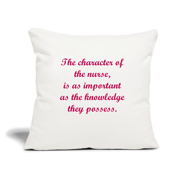 "Nurse Character Throw Pillow Cover 18"" x 18"" - natural white"
