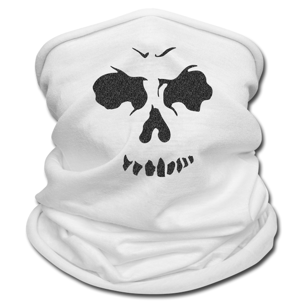 Multifunctional Scarf | Tan's Club - white with black skull face