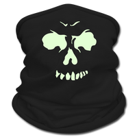 Multifunctional Scarf | Tan's Club - black with green glow in the dark skull face.