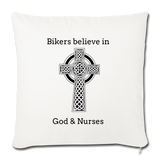 "Bikers Throw Pillow Cover 18"" x 18"" - natural white"