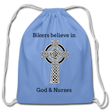 Bikers Cotton Drawstring Bag - carolina blue