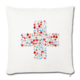 "Mosaic Cross Throw Pillow Cover 18"" x 18"" - natural white"