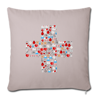 "Mosaic Cross Throw Pillow Cover 18"" x 18"" - light taupe"