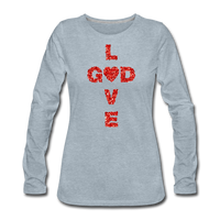 God Women's Premium Long Sleeve T-Shirt - heather ice blue