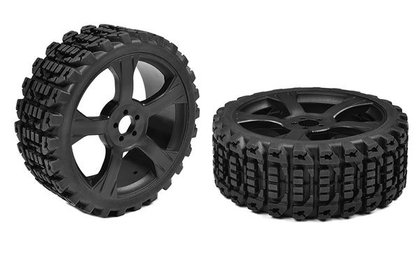 Off-Road 1/8 Buggy Tires Xprit Glued on Black Rims