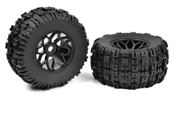 Off-Road 1/8 MT Tires Mud Claw Glued on Black Rims