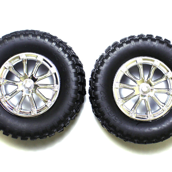 SCT Tires with Foam, Mounted W/Chrome Wheels (2)
