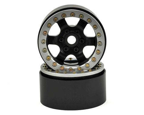 "1.9"" Rock Racer Beadlock Wheels (Black/Silver)"