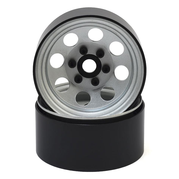 "1.9"" Steel 8 Hole Beadlock Wheels (Silver)"