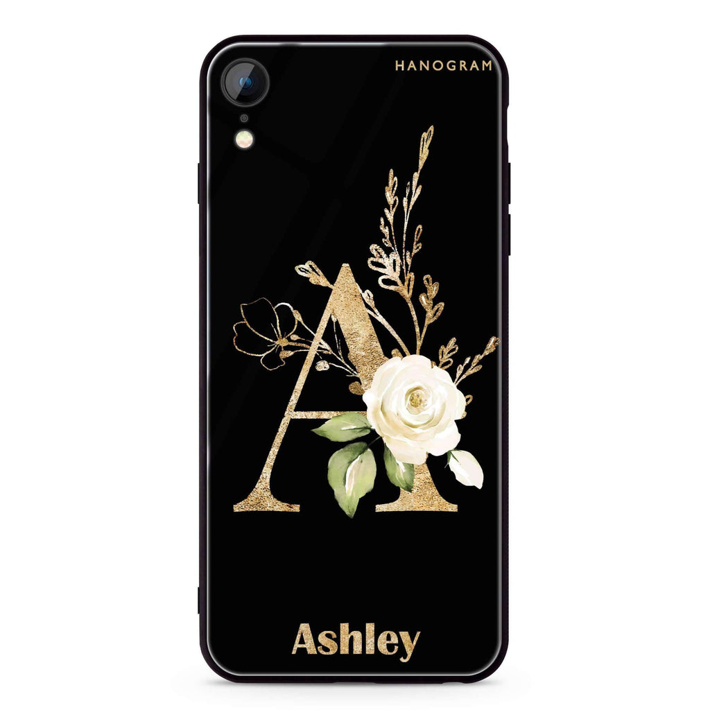 Golden Floral Monogram iPhone XR 超薄強化玻璃殻