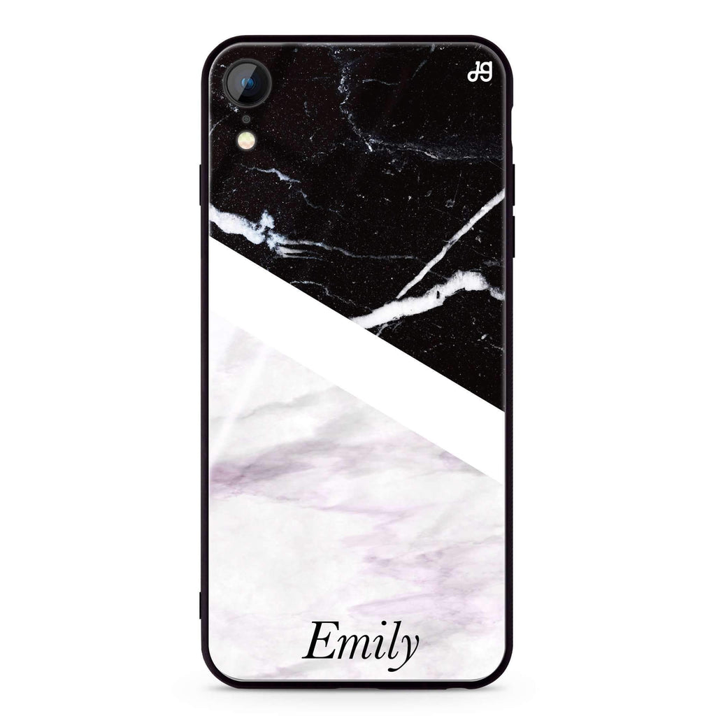 Black & White Marble iPhone XR 超薄強化玻璃殻