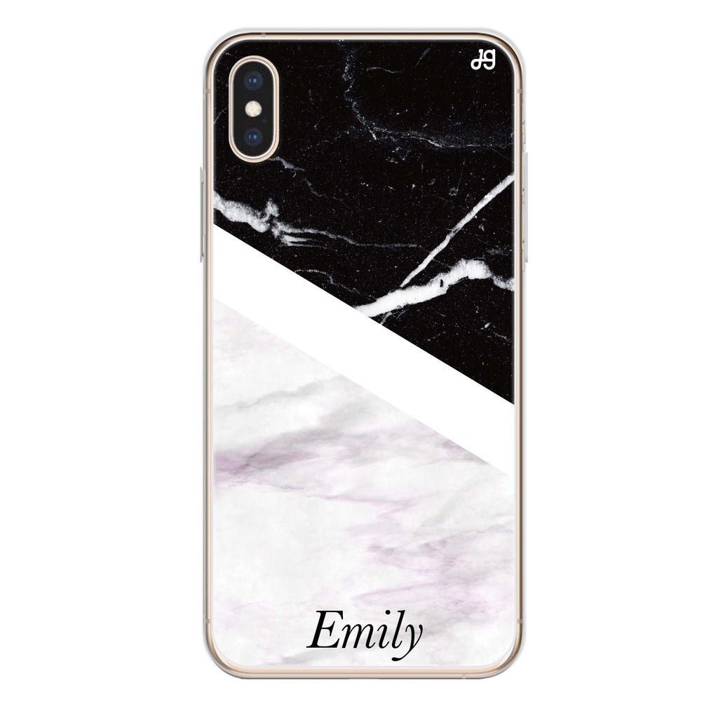 Black & White Marble iPhone X 透明軟保護殻