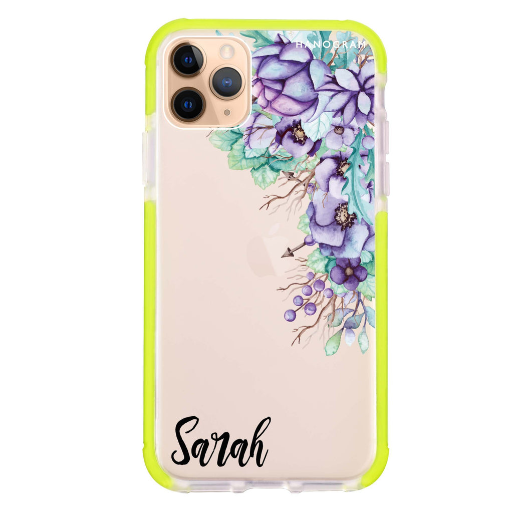 Purple Floral iPhone 11 Pro Max 吸震防摔保護殼