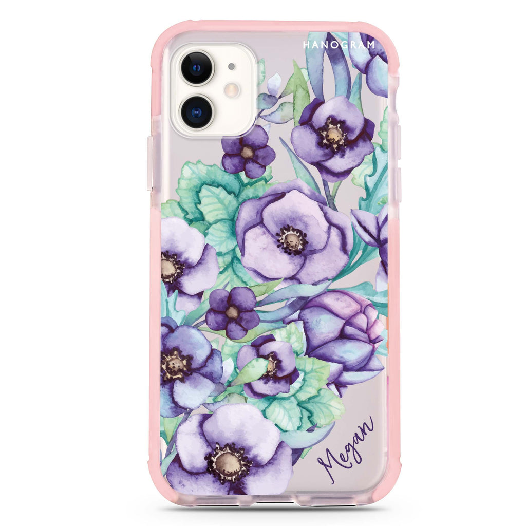 Purple Floral II iPhone 11 吸震防摔保護殼