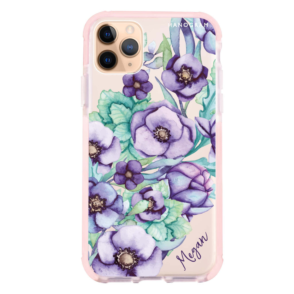 Purple Floral II iPhone 11 Pro Max 吸震防摔保護殼