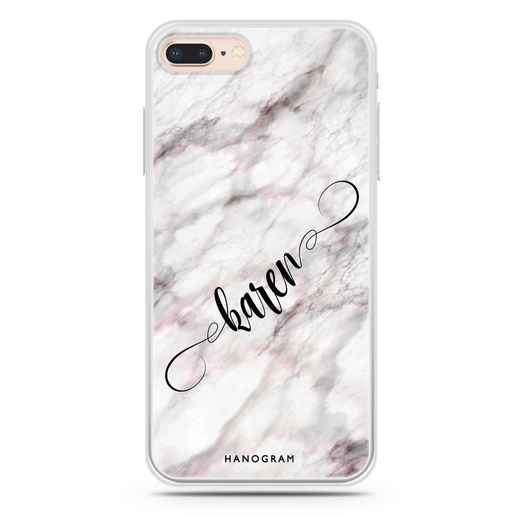 Cursive Name & Marble iPhone 8 Plus 透明軟保護殻