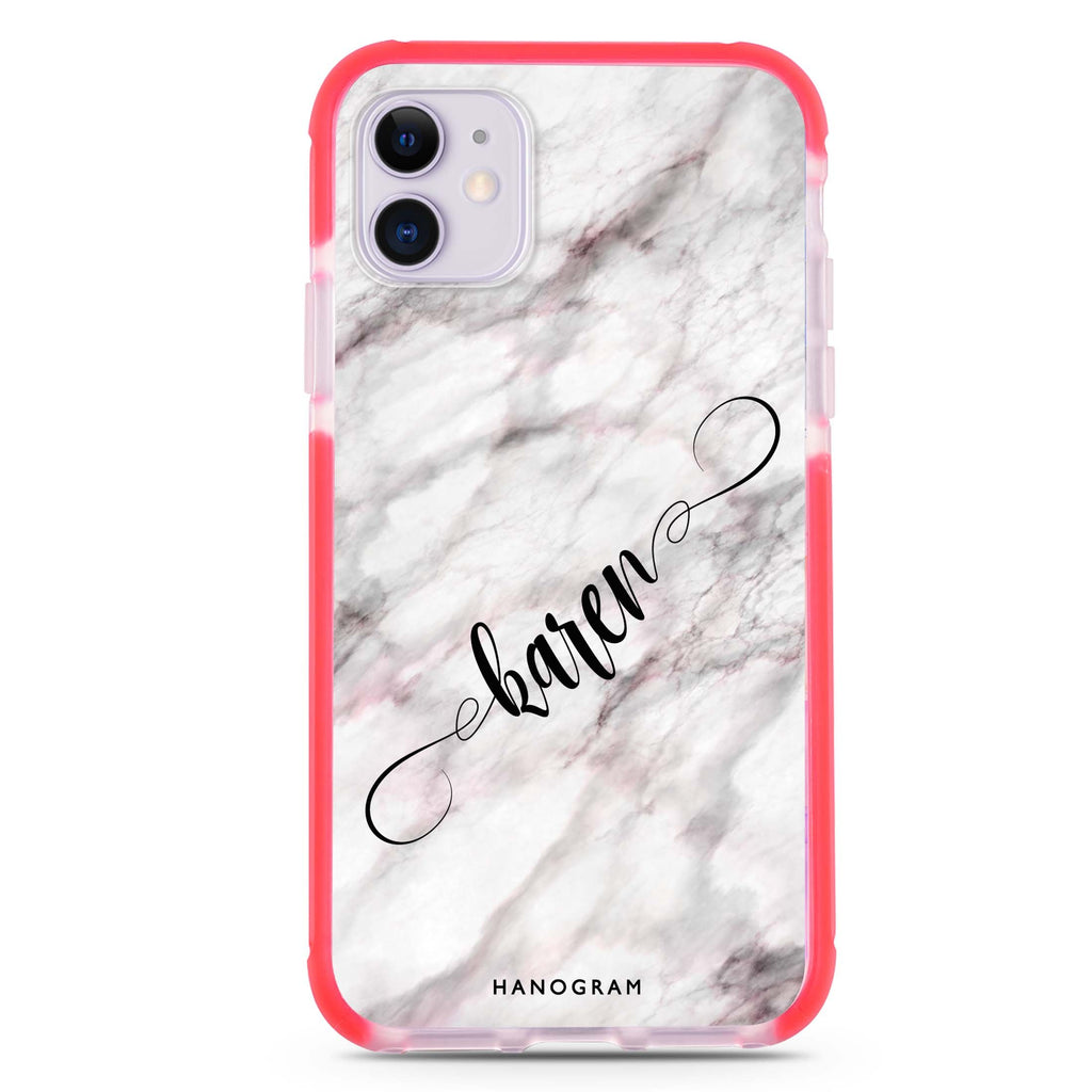 Cursive Name & Marble iPhone 11 吸震防摔保護殼