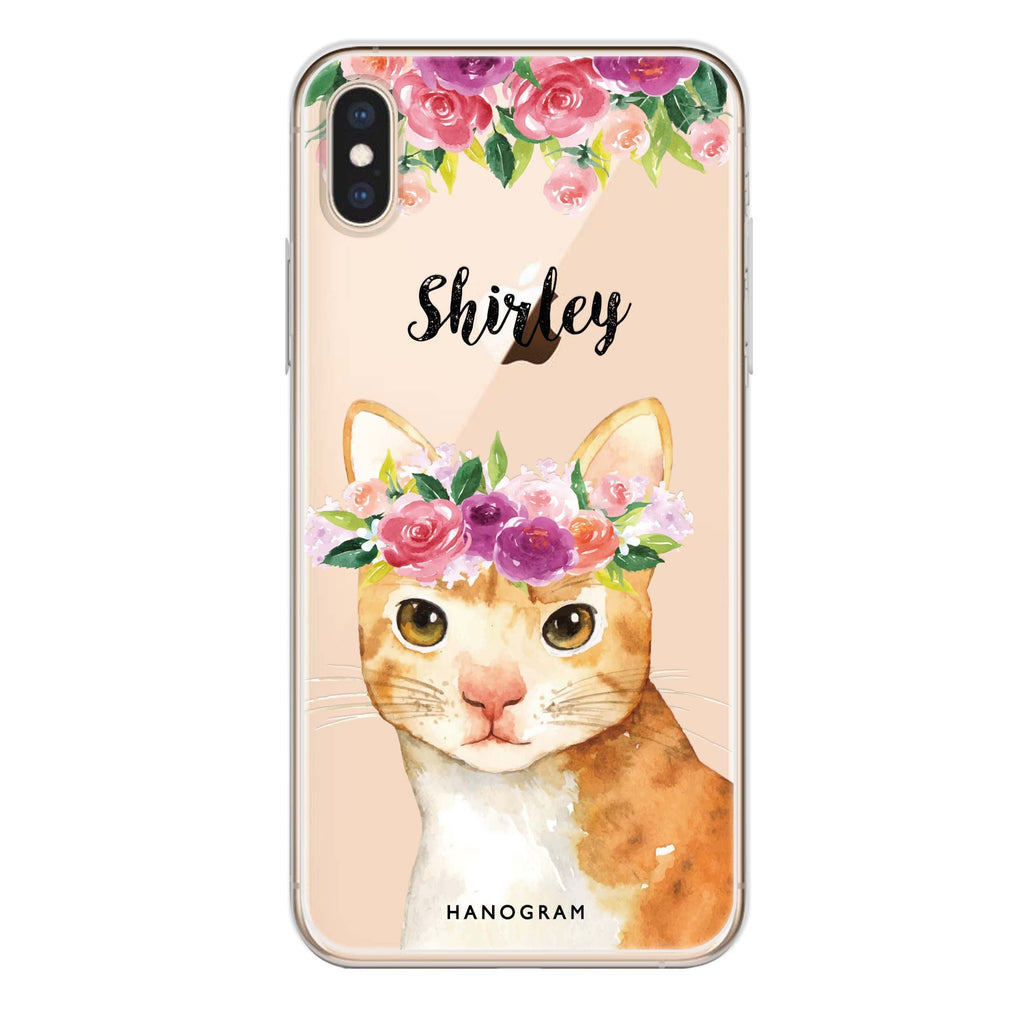 Floral and Cat iPhone XS 透明軟保護殻