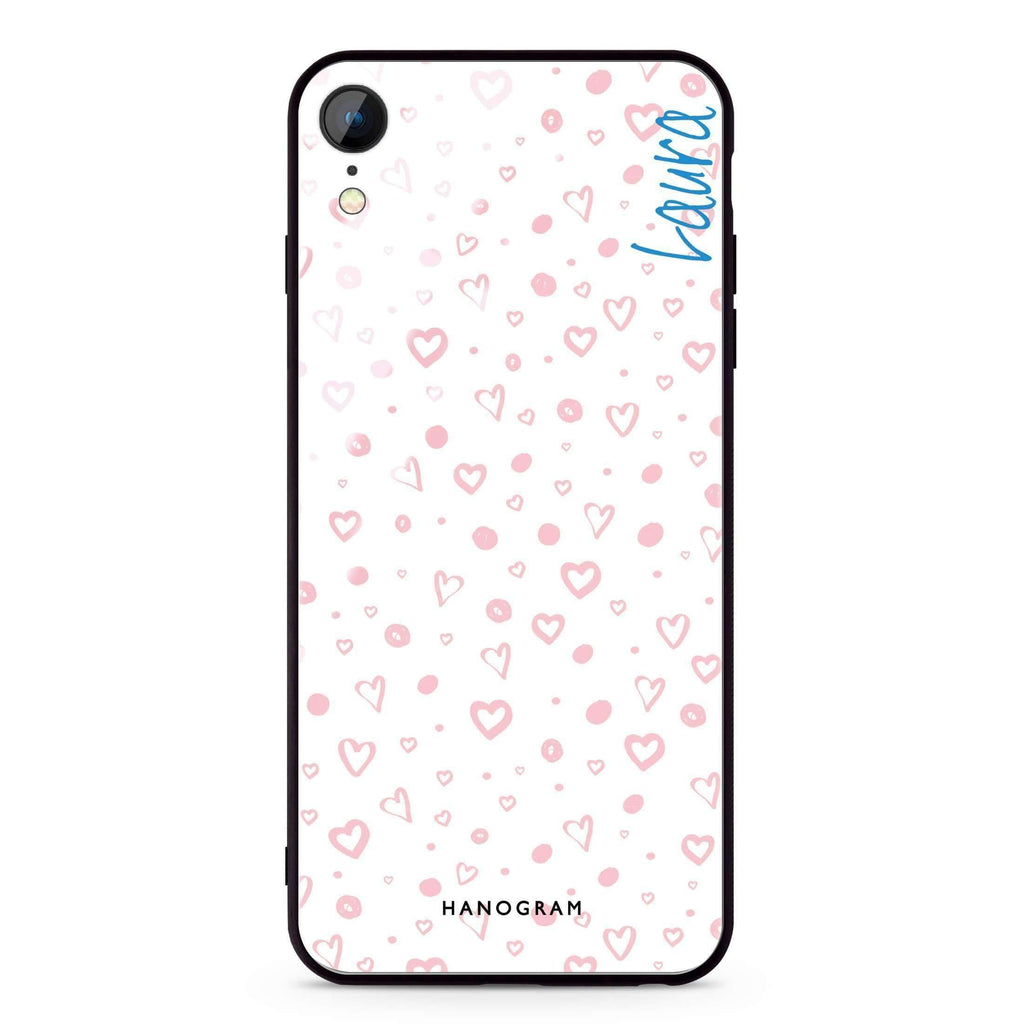 Pinky Hearts iPhone XR 超薄強化玻璃殻