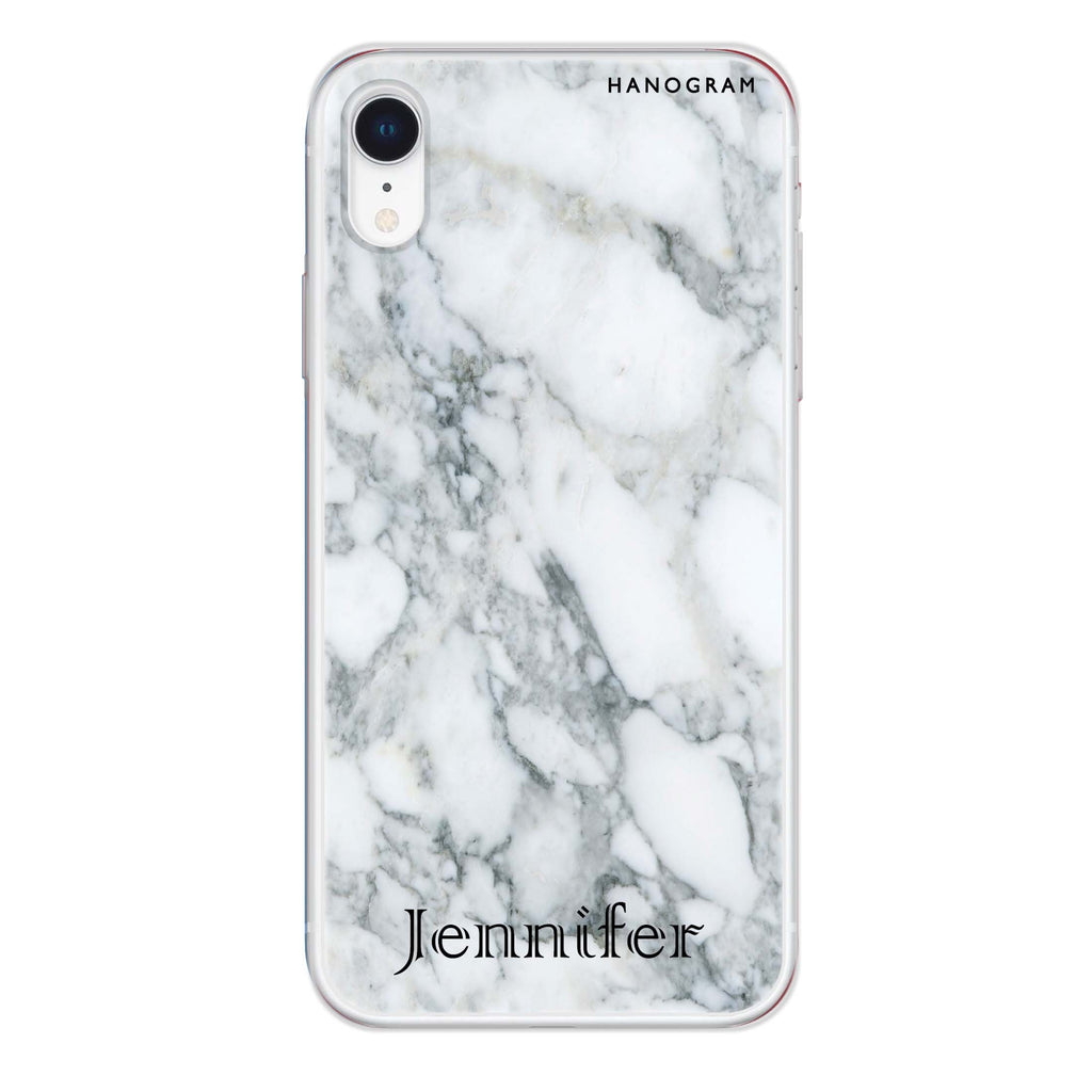 Powder Gray And White Marble II iPhone XR 透明軟保護殻