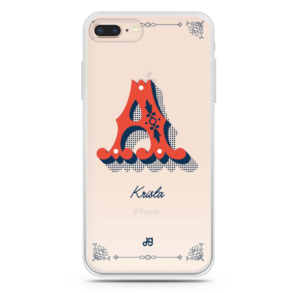Vintage Ornamental Monogram iPhone 8 Plus 透明軟保護殻