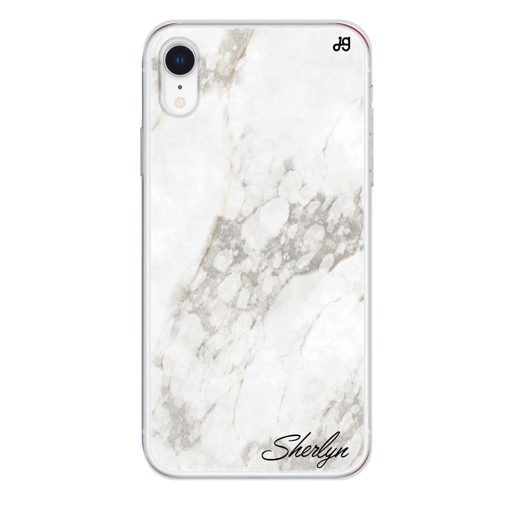 Simple White Marble iPhone XR 透明軟保護殻