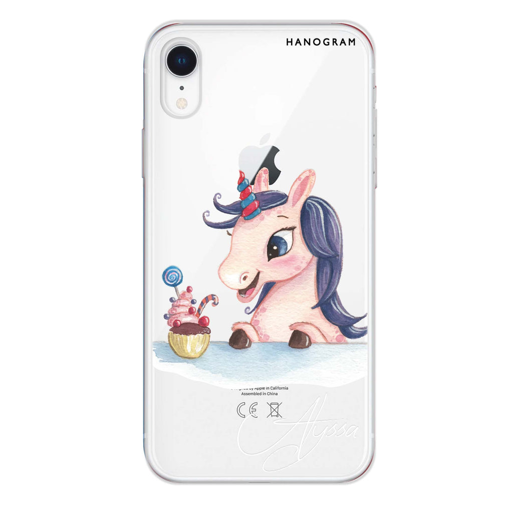 Rainbow Unicorn And Cupcake iPhone XR 透明軟保護殻