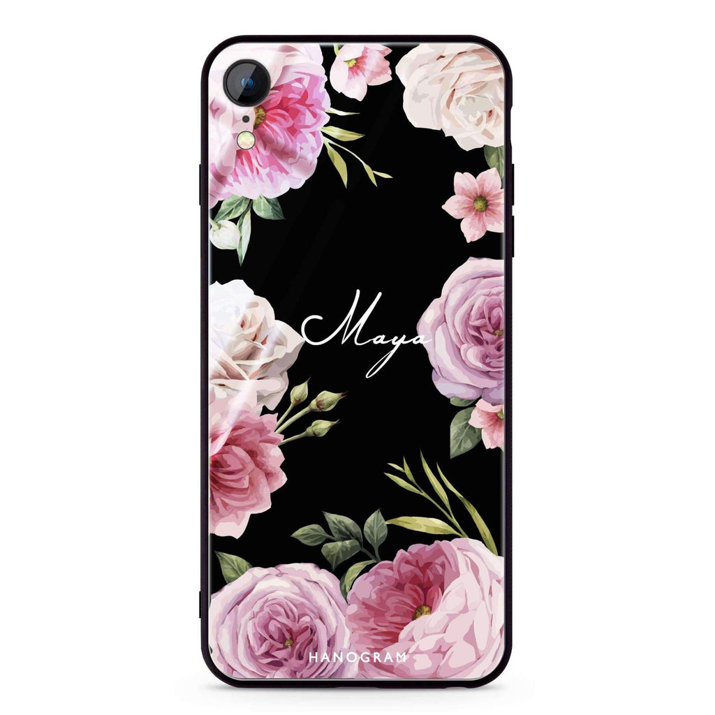 Beautiful Pretty Floral iPhone XR 超薄強化玻璃殻