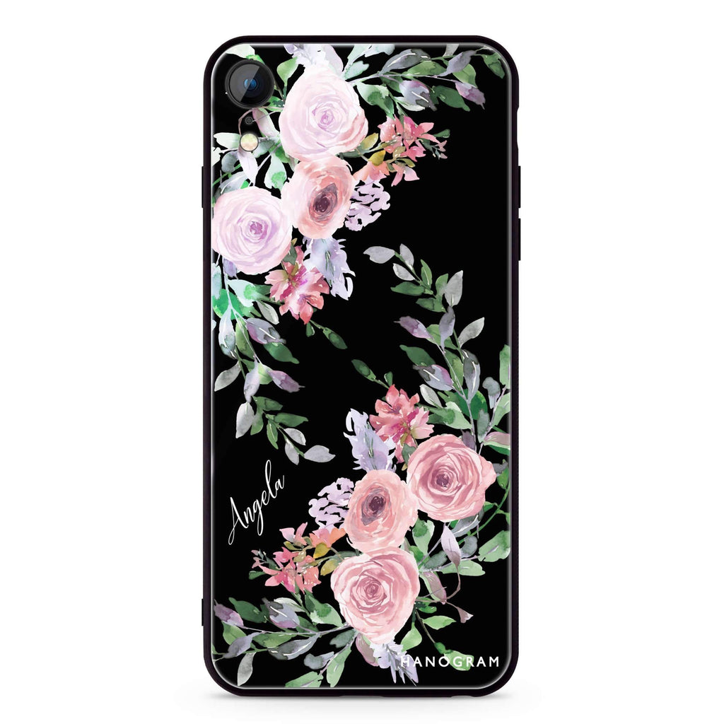 Lucy Watercolor Rose iPhone XR 超薄強化玻璃殻