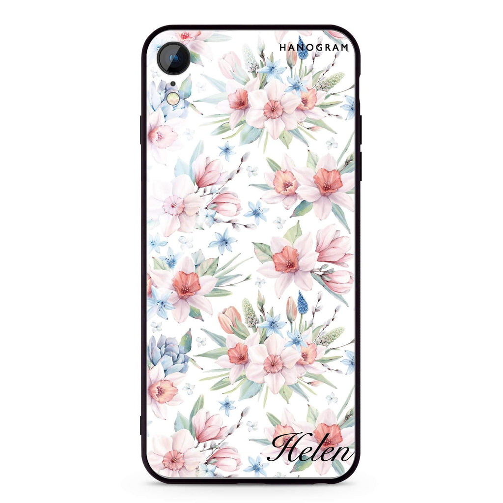 Glamour Floral World iPhone XR 超薄強化玻璃殻