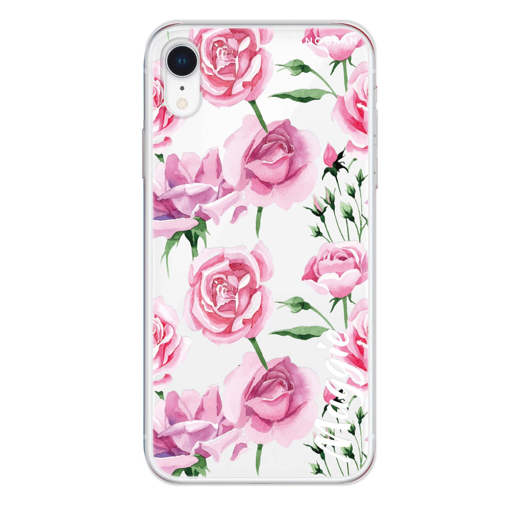 Pink Rose iPhone XR 透明軟保護殻