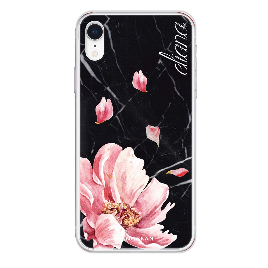 Black Marble & Floral iPhone XR 透明軟保護殻