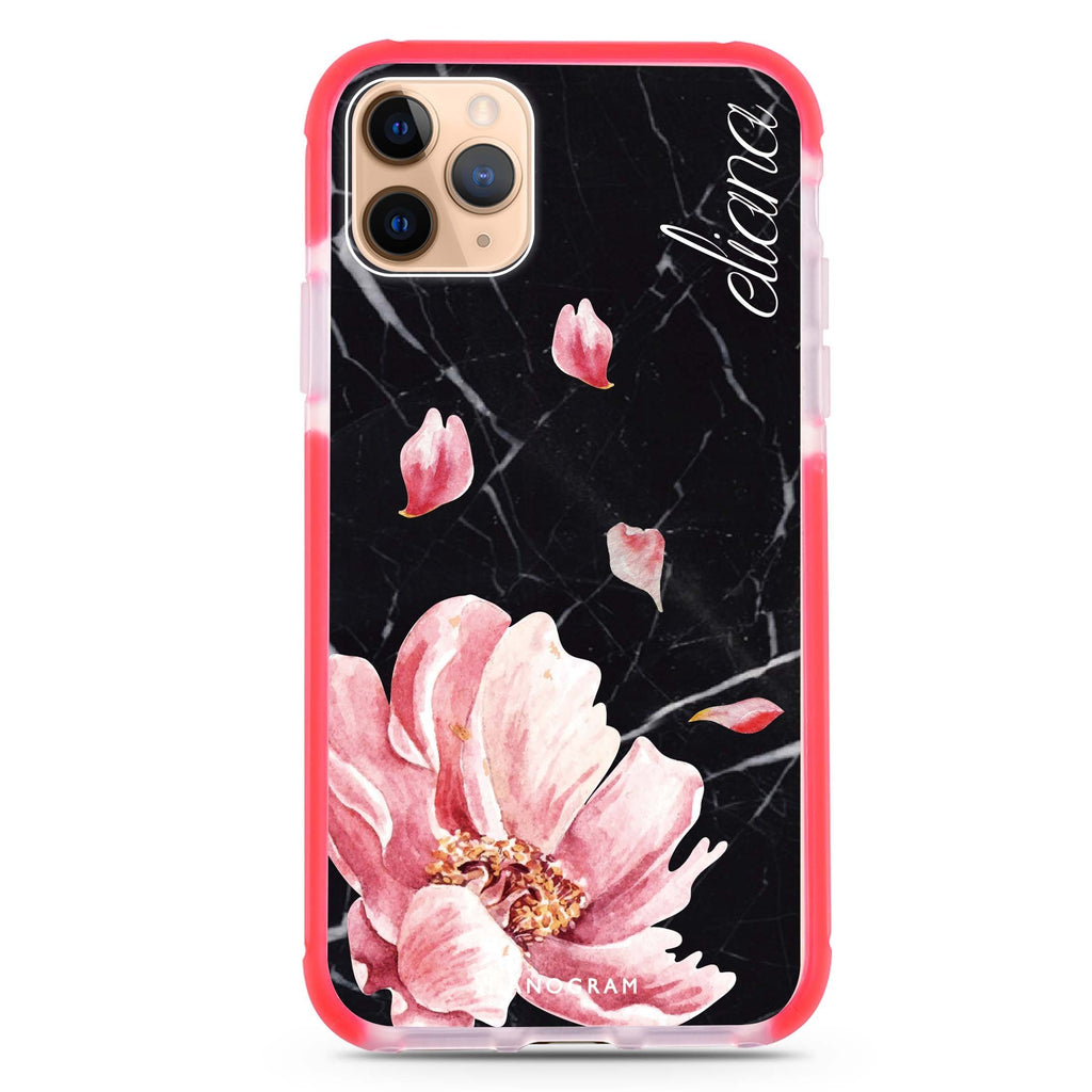 Black Marble & Floral iPhone 11 Pro 吸震防摔保護殼