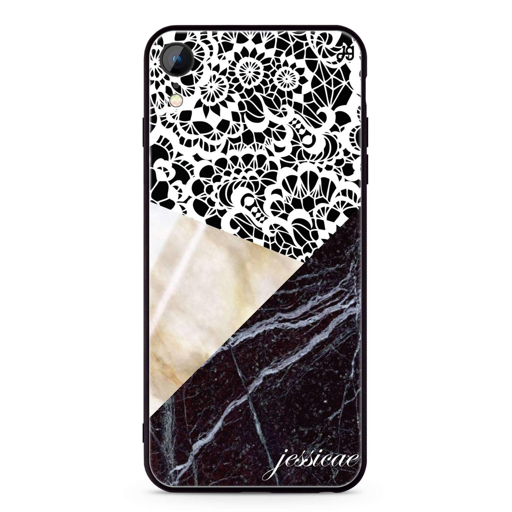 Marble Lace iPhone XR 超薄強化玻璃殻