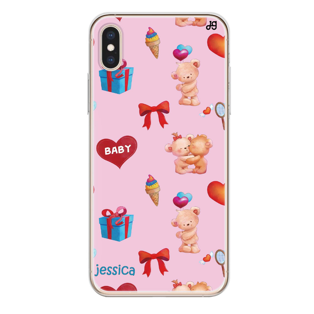 Cute Bear Present iPhone XS 透明軟保護殻