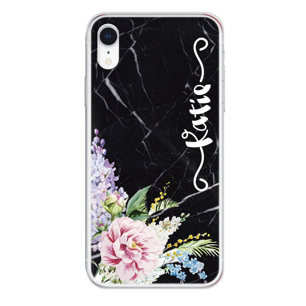 Floral & Black Marble iPhone XR 透明軟保護殻